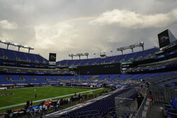 A rainbow forms over M & T Bank Stadium before an NFL football game between the Baltimore Ravens and the Kansas City Chiefs, Monday, Sept. 28, 2020, in Baltimore. (AP Photo/Nick Wass)