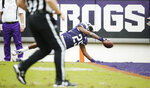 TCU wide receiver KaVontae Turpin (25) dives into the end zone for a touchdown during the first half of an NCAA college football game against Oklahoma, Saturday, Oct. 20, 2018, in Fort Worth, Texas. (AP Photo/Brandon Wade)