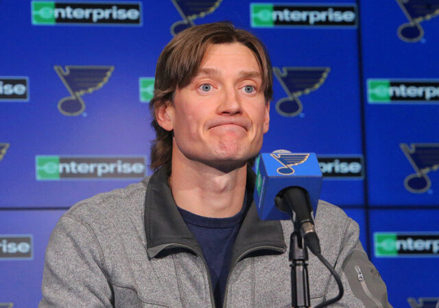 St. Louis Blues defenseman Jay Bouwmeester reacts to a question about his injury during a press conference, Wednesday, Feb. 26, 2020, at the Enterprise Center in St. Louis. Bouwmeester says he is feeling better since suffering a cardiac episode during an NHL game, but he is not ready to make a decision on his hockey future. Bouwmeester commented publicly Wednesday for the first time since he collapsed on the Blues' bench during a game at Anaheim earlier this month. (J.B. Forbes/St. Louis Post-Dispatch via AP)