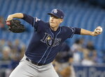 Tampa Bay Rays starting pitcher Ryan Yarbrough throws against the Toronto Blue Jays during the second inning of a baseball game in Toronto Saturday Sept. 28, 2019. (Fred Thornhill/The Canadian Press via AP)