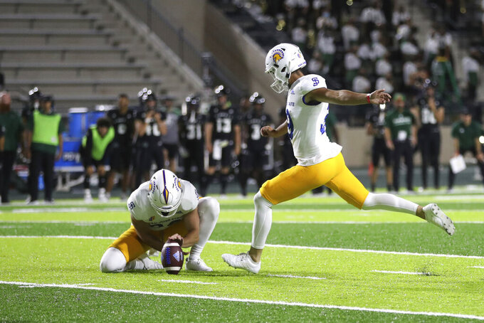 San Jose State kicker Matt Mercurio (39) makes a field goal against Hawaii during the second half of an NCAA college football game, Saturday, Sept. 18, 2021, in Honolulu. (AP Photo/Marco Garcia)