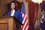 In a photo provided by the Michigan Office of the Governor, Gov. Gretchen Whitmer delivers her virtual State of the State address the state, Wednesday, Jan. 27, 2021 in Lansing, Mich. (Michigan Office of the Governor via AP)