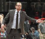 Toronto Raptors head coach Nick Nurse reacts during the second half of an NBA basketball game against the Atlanta Hawks Saturday, Nov. 23, 2019, in Atlanta. The Raptors defeated the Hawks 119-116. (AP Photo/Tami Chappell)