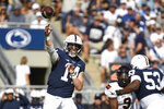 Penn State quarterback Sean Clifford (14) passes against Ball State during the first half of an NCAA college football game in State College, Pa., Saturday, Sept. 11, 2021. (AP Photo/Barry Reeger)