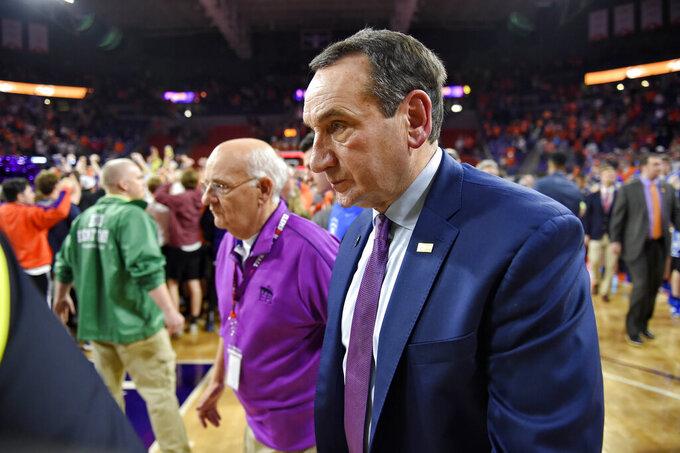 Duke head coach Mike Krzyzewski leaves the court after an NCAA college basketball game against Clemson Tuesday, Jan. 14, 2020, in Clemson, S.C. Clemson won 79-72. (AP Photo/Richard Shiro)