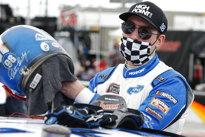Chase Briscoe prior to the NASCAR Xfinity Series auto race at Phoenix Raceway, Saturday, Nov. 7, 2020, in Avondale, Ariz. (AP Photo/Ralph Freso)