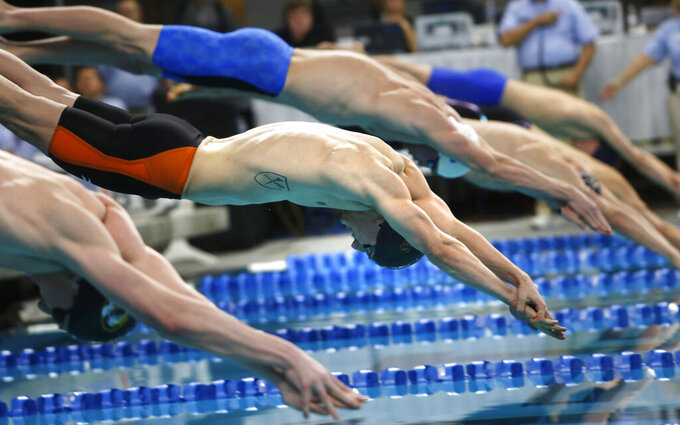 FILE - In this Jan. 17, 2016, file photo, Andrew Wilson, center, competes in the men's 100-meter breaststroke during the Arena Pro Swim Series in Austin, Texas. USA Swimming has announced its plans for a return to competition, beginning with a series of regional events in August before the national schedule begins in early November at Richmond, Virginia. (AP Photo/Stephen Spillman, File)