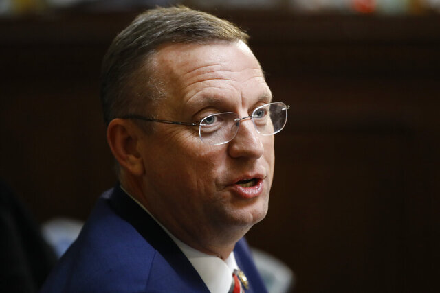 FILE- In this Dec. 17, 2019 file photo, Rep. Doug Collins, R-Ga., speaks during a House Rules Committee hearing on the impeachment against President Donald Trump on Capitol Hill in Washington.  Collins announced that he's running for the U.S. Senate seat held by a fellow Republican, setting up a battle that could divide the state party this election year. Collins made the announcement Wednesday, Jan. 29, 2020 on Fox & Friends. (AP Photo/Matt Rourke, File)