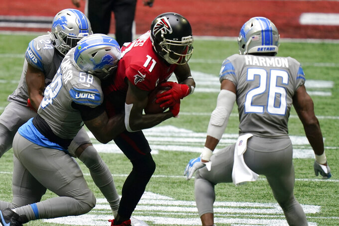 Atlanta Falcons wide receiver Julio Jones (11) runs against the Detroit Lions during the first half of an NFL football game, Sunday, Oct. 25, 2020, in Atlanta. (AP Photo/Brynn Anderson)