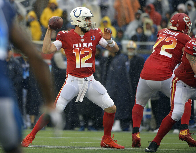 AFC quarterback Andrew Luck (12), of the Indianapolis Colts, throws a pass against the NFC during the first half of the NFL Pro Bowl football game Sunday, Jan. 27, 2019, in Orlando, Fla. (AP Photo/Phelan Ebenhack)