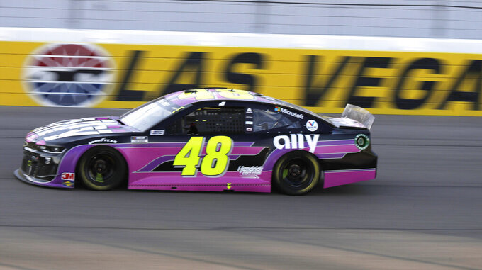 Jimmie Johnson drives during a NASCAR Cup Series auto race Sunday, Sept. 27, 2020, in Las Vegas. (AP Photo/Isaac Brekken)