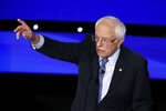 Democratic presidential candidate Sen. Bernie Sanders, I-Vt., responds to a question Tuesday, Jan. 14, 2020, during a Democratic presidential primary debate hosted by CNN and the Des Moines Register in Des Moines, Iowa. (AP Photo/Patrick Semansky)