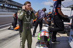 Conor Daly prepares to drive during practice for the Indianapolis 500 auto race at Indianapolis Motor Speedway in Indianapolis, Friday, Aug. 14, 2020. (AP Photo/Michael Conroy)