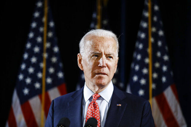 FILE - In this March 12, 2020, file photo Democratic presidential candidate former Vice President Joe Biden speaks about the coronavirus in Wilmington, Del. (AP Photo/Matt Rourke, File)