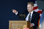 Acting Secretary of Defense Patrick Shanahan speaks during the Naval Academy's graduation and commissioning ceremony Friday, May 24, 2019, in Annapolis, Md. (AP Photo/Will Newton)
