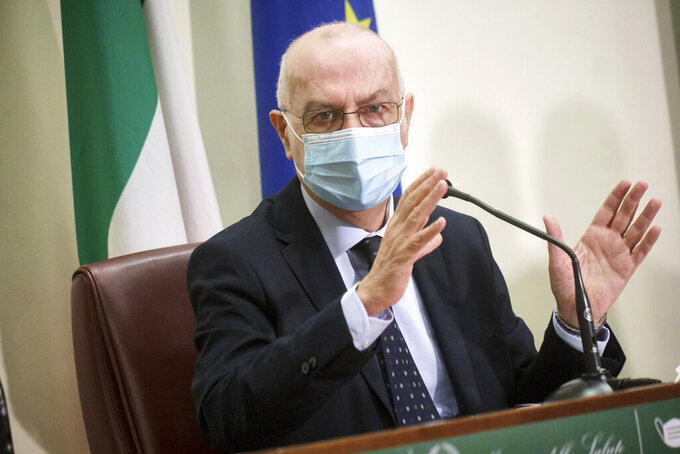 Giovanni Rezza speaks during a news conference in Rome, Friday, March 19, 2021. Italy's pharmaceutical agency has formally lifted its temporary ban on AstraZeneca vaccinations after the European Medicines Agency ruled the shots were safe and effective. The head of prevention at the Health Ministry, Dr. Giovanni Rezza, said Italy only reluctantly halted the campaign out of an abundance of caution. (Mauro Scrobogna/LaPresse via AP)