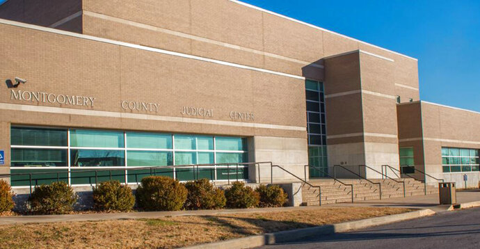 This undated photo provided by the 14th Judicial District shows the Montgomery County Judicial Center in Independence, Kan. A foul-mouthed Kansas judge accused of bigotry and racism is facing complaints that his conduct violates the central judicial canons of independence, integrity and impartiality. The Kansas Commission on Judicial Qualifications will next week consider whether Montgomery County Judge F. William Cullins performs his duties with sufficient competence and diligence that he can continue on the bench. (14th Judicial District via AP)