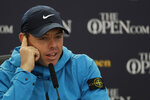 Northern Ireland's Rory McIlroy answers a question from the media at a press conference ahead of the start of the British Open golf championships at Royal Portrush in Northern Ireland, Wednesday, July 17, 2019. The British Open starts Thursday. (AP Photo/Matt Dunham)