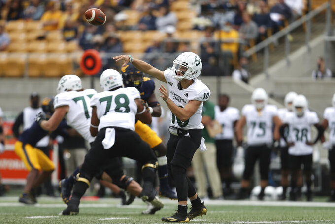 Sacramento State quarterback Asher O'Hara (10) passes against California during the first half of an NCAA college football game on Saturday, Sept. 18, 2021, in Berkeley, Calif. (AP Photo/Jed Jacobsohn)