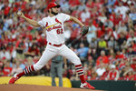 St. Louis Cardinals starting pitcher Daniel Ponce de Leon throws during the first inning of the team's baseball game against the Arizona Diamondbacks on Friday, July 12, 2019, in St. Louis. (AP Photo/Jeff Roberson)