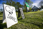 In this Thursday, May 28, 2020 photo, a sign advertises community supported agriculture shares at Spear Spring Farm in Warren, Maine. Spear Spring is one of many farms that have seen an uptick in the number of CSA shares sold to customers, most likely as a result to the coronavirus pandemic. (AP Photo/Robert F. Bukaty)