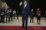 Algerian presidential candidate Abdelaziz Belaid arrives for televised debate in Algiers, Friday, Dec. 6, 2019. Restive Algeria is holding its first - and sole - televised presidential debate ahead of the consequential Dec. 12 poll. Five all-male candidates - Azzedine Mihoubi, Abdelmadjid Tebboune, Abdelkader Bengrina, Ali Benflis et Abdelaziz Belaid - are vying to make their case Friday evening to lead the North African country. (AP Photo/Fateh Guidoum)