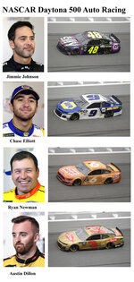 In these photos taken in February 2019, qualifying drivers and their cars in the starting field for Sunday's NASCAR Daytona 500 auto race are shown at Daytona International Speedway in Daytona Beach, Fla. They are, from top, Row 9, Jimmie Johnson, Chase Elliott, Row 10, Ryan Newman and Austin Dillon. (AP Photo)