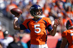 Denver Broncos quarterback Joe Flacco throws a pass during the first half of an NFL football game against the Jacksonville Jaguars, Sunday, Sept. 29, 2019, in Denver. (AP Photo/Jack Dempsey)