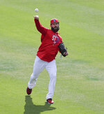 Philadelphia Phillies pitcher Jake Arrieta throws before a spring baseball exhibition game against the Tampa Bay Rays, Tuesday, March 13, 2018, in Clearwater, Fla. (AP Photo/John Raoux)