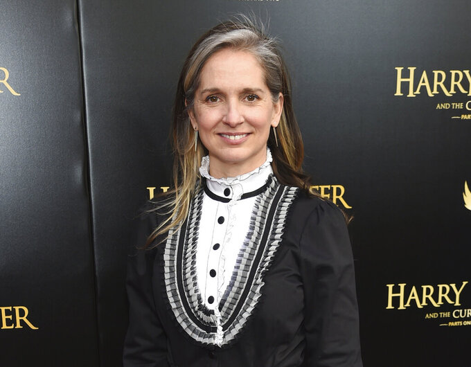"""FILE - Set designer Christine Jones attends the """"Harry Potter and the Cursed Child"""" Broadway opening in New York on April 22, 2018. """"Theatre for One,"""" which usually has a portable theater where one audience member sees one short play performed by a single actor, has now gone online. Jones, a Tony-winning scenic designer, conceived and leads the project. (Photo by Evan Agostini/Invision/AP, File)"""