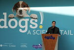 In this Tuesday, March 12, 2019 photo Jeffrey Rudolph President of the California Science Center announces a new exhibition called