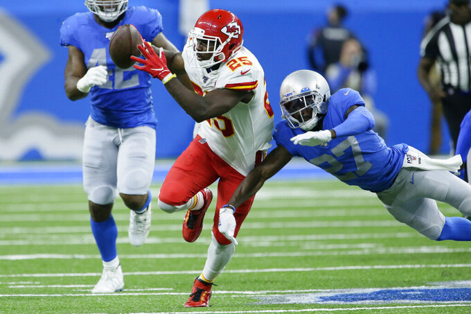 Kansas City Chiefs running back LeSean McCoy (25) rushes during the first half of an NFL football game against the Detroit Lions, Sunday, Sept. 29, 2019, in Detroit. (AP Photo/Duane Burleson)