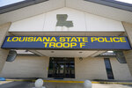 This Aug. 4, 2021 photo shows the front of Louisiana State Police Troop F headquarters in Monroe, La. A seven-member panel had been focused on reviewing thousands of hours of body camera footage from about a dozen specific troopers in northern Louisiana's Troop F, including some of those involved in the beatings of Greene and three other Black motorists. But according to several people familiar with the matter who spoke The Associated Press on condition of anonymity, the panel was abruptly disbanded in July 2021 after just a few months' work following leaks about its existence. (AP Photo/Rogelio V. Solis)