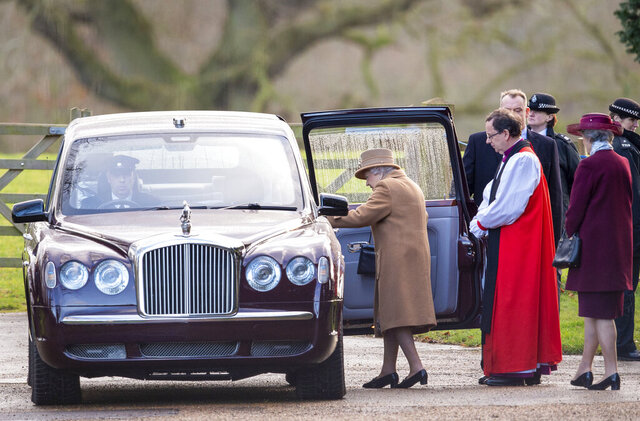 """Britain's Queen Elizabeth II leaves after attending a morning church service at St Mary Magdalene Church in Sandringham, England, Sunday Jan. 12, 2020.   Prince Harry and his wife Meghan have declared they will """"work to become financially independent"""" as part of a surprise announcement saying they wish"""