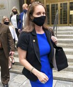 Natalie Mayflower Sours Edwards leaves court after receiving a six-month prison sentence for leaking confidential financial reports to a journalist at Buzzfeed, Thursday June 3, 2021, in New York. (AP Photo/Larry Neumeister)