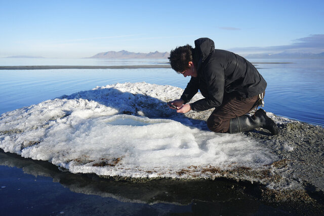In this undated photo provided by the Utah Division of Parks and Recreation, are rare salt formations that are being are being documented for the first time along the shores of the Great Salt Lake in Utah. Rare salt formations have been documented for the first time on the shores of the Great Salt Lake, and they could yield insights about salt structures found on Mars before they disappear for good. (Utah Division of Parks and Recreation via AP)