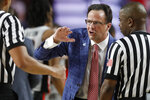 Georgia coach Tom Crean speaks with referees during an NCAA college basketball game against LSU in Athens, Ga., Saturday, Feb. 16, 2019. (Joshua L. Jones/Athens Banner-Herald via AP)