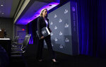Secretary of Homeland Security Kirstjen Nielsen leaves the stage after a security news conference for the NFL Super Bowl 53 football game Wednesday, Jan. 30, 2019, in Atlanta. (AP Photo/David J. Phillip)