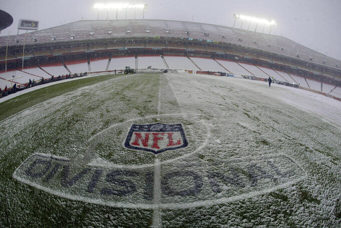 Snow covers the playing field at Arrowhead Stadium before an NFL divisional football playoff game between the Kansas City Chiefs and the Indianapolis Colts in Kansas City, Mo., Saturday, Jan. 12, 2019. (AP Photo/Charlie Riedel)