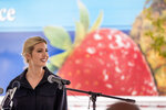 Ivanka Trump, the daughter of President Donald Trump, smiles while speaking after touring Coastal Sunbelt Produce, Friday, May 15, 2020, in Laurel, Md. (AP Photo/Andrew Harnik)