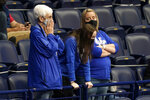 Kentucky fans watch the final moments of the second half of a loss to Mississippi State in an NCAA college basketball game in the Southeastern Conference Tournament Thursday, March 11, 2021, in Nashville, Tenn. (AP Photo/Mark Humphrey)
