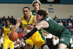 Baylor forward Tristan Clark (25) and Ohio forward Ben Vander Plas (5) reach for the ball during the first half of an NCAA college basketball game at the Myrtle Beach Invitational in Conway, S.C., Thursday, Nov. 21, 2019. (AP Photo/Gerry Broome)