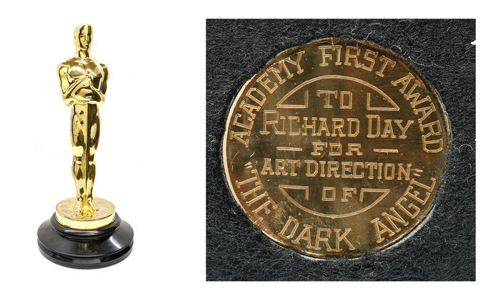 "This combination of photos released by Grant Zahajko Auctions shows a 1936 Academy Award, left, and a view of its inscription given to art director Richard Day for his work on the film ""Dark Angel."" It's expected to go for between $70,000 and $100,000. (Grant Zahajko Auctions via AP)"