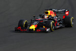 Red Bull driver Max Verstappen of the Netherland's steers his car during qualification before the Hungarian Formula One Grand Prix at the Hungaroring racetrack in Mogyorod, northeast of Budapest, Hungary, Saturday, Aug. 3, 2019. The Hungarian Formula One Grand Prix takes place on Sunday. (AP Photo/Laszlo Balogh)