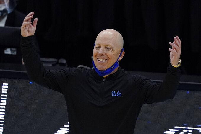 UCLA head coach Mick Cronin reacts to a call during the first half of a men's Final Four NCAA college basketball tournament semifinal game against Gonzaga, Saturday, April 3, 2021, at Lucas Oil Stadium in Indianapolis. (AP Photo/Darron Cummings)