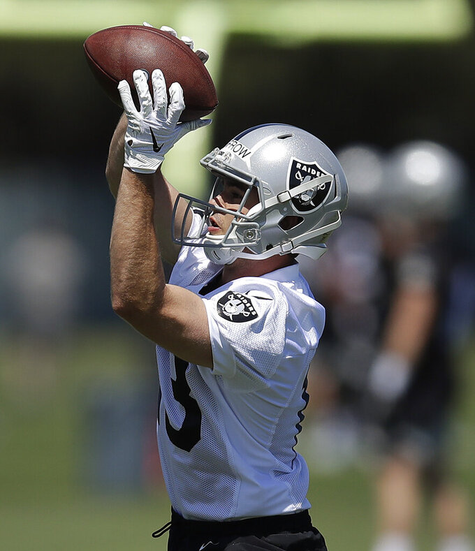 Oakland Raiders wide receiver Hunter Renfrow makes a reception during NFL football practice on Friday, May 3, 2019, at the team's training facility in Alameda, Calif. (AP Photo/Ben Margot)