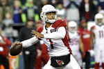 Arizona Cardinals quarterback Brett Hundley passes against the Seattle Seahawks during the second half of an NFL football game, Sunday, Dec. 22, 2019, in Seattle. (AP Photo/Elaine Thompson)