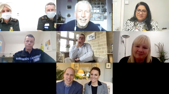 In this image provided by Kensington Palace shows a video call on Jan. 13, 2021 with Britain's Prince William and his wife Kate, Duchess of Cambridge, bottom of screen, and, top row from left, Carly Kennard and Jules Lockett, both of London Ambulance Service, Conal Devitt of Formby Primary Care Network and Manal Sadik, Associate Director for Equality, Diversity and Inclusion and Widening Participation at Guys and St. Thomas Hospital. Center row from left, Phil Spencer from Cleveland Police, Tony Collins, Just 'B' volunteer helpline call handler and CEO of North Yorkshire Hospice Care, and Caroline Francis, Just 'B' helpline support worker and nurse at North Yorkshire Hospice Care. The royal pair spoke with frontline workers and counsellors about the mental health impact of the COVID-19 crisis for those working on the frontline, and why it is vital that they are able to reach out for support at such a critical time. (Kensington Palace via AP)