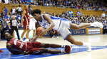 Duke center Vernon Carey Jr. and Boston College forward Jairus Hamilton (1) fall to the floor while chasing the ball during the first half of an NCAA college basketball game in Durham, N.C., Tuesday, Dec. 31, 2019. (AP Photo/Gerry Broome)