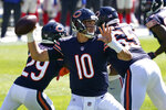 Chicago Bears quarterback Mitchell Trubisky (10) throws against the New York Giants during the first half of an NFL football game in Chicago, Sunday, Sept. 20, 2020. (AP Photo/Nam Y. Huh)